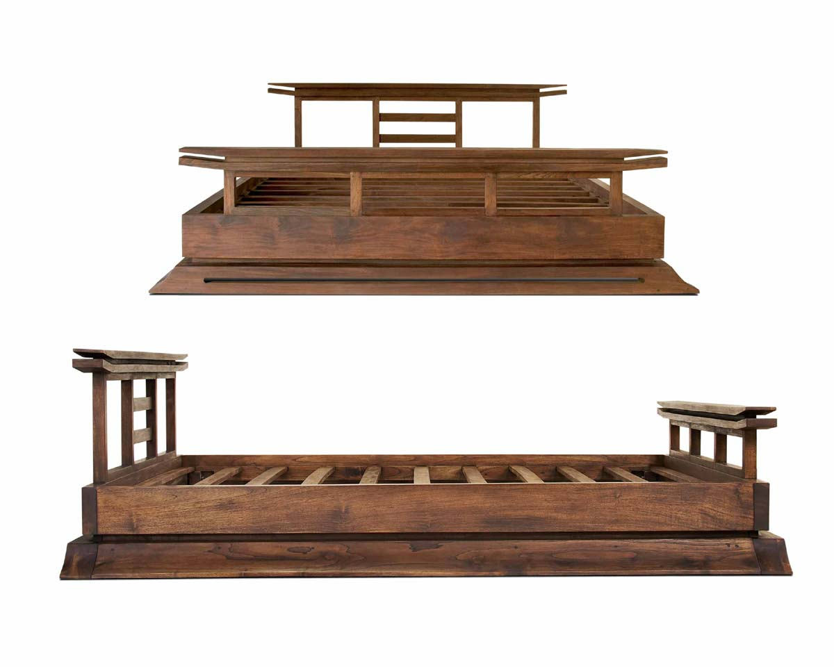 Asian bed platform style teak