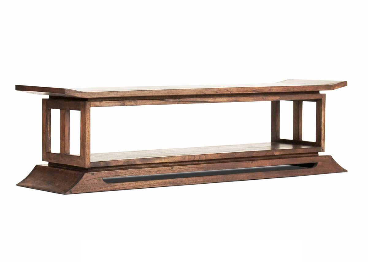 kondo teak bed end tv console