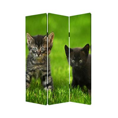 Curious Cat Three Panel Screen