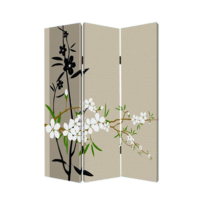 Plum Blossom Three Panel Screen