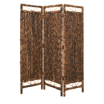 Cascading Palm Three Panel Screen (Brown)