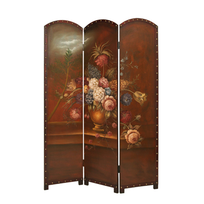 Painted Floral Bouquet Three Panel Screen