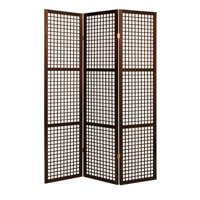 Eternal Squares Three Panel Screen - Brown