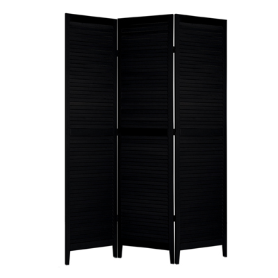 Shutter Three Panel Wooden Screen - Black