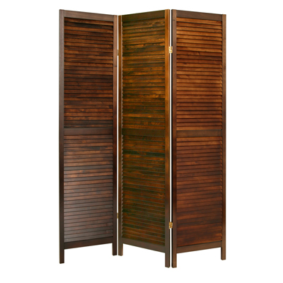 Shutter Three Panel Wooden Screen - Brown