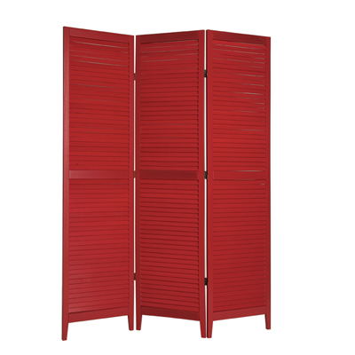 Shutter Three Panel Wooden Screen - Red