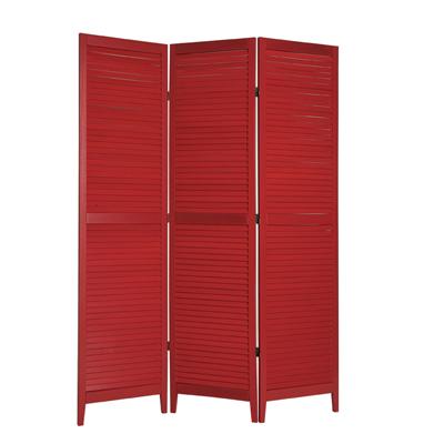 Shutter Three Panel Wooden Screen - Red