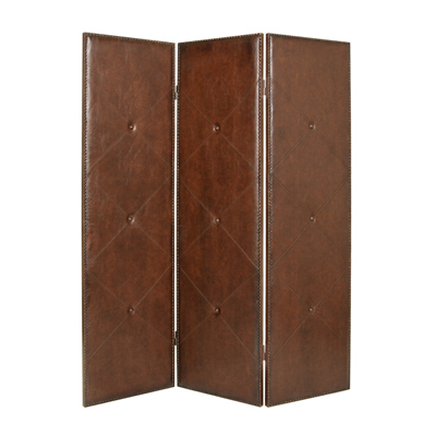 Copley Faux Leather Three Panel Screen