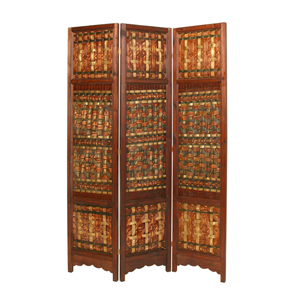 Palm Brass Three Panel Screen