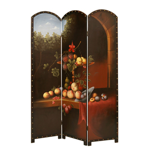 Painted Fruit Potpourri Three Panel Screen