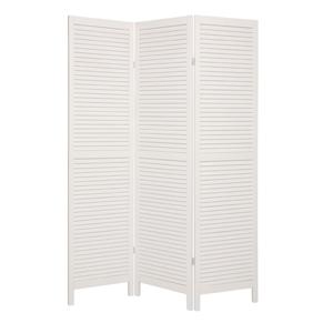Shutter Three Panel Wooden Screen - White