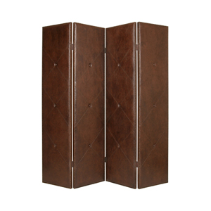 Copley Faux Leather Four Panel Screen