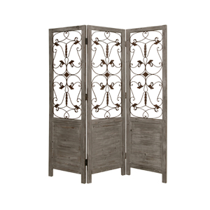 Hampton Three Panel Screen (Gray)
