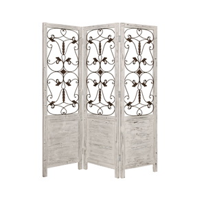 Hampton Three Panel Screen (White)