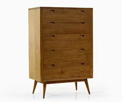 Fifties 5-Drawer Tall Dresser - Danish Honey