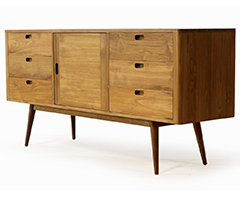 Fifties 6-Drawer Dresser - Danish Honey